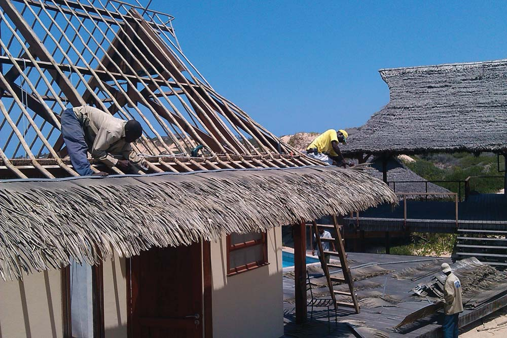 Fire resistant and waterproof thatch roofs palmex india for Fire resistant roofing